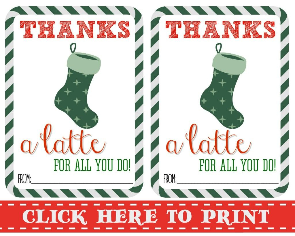 Thanks A Latte Free Printable   Gift Cards   Pinterest   Thanks A - Thanks A Latte Free Printable