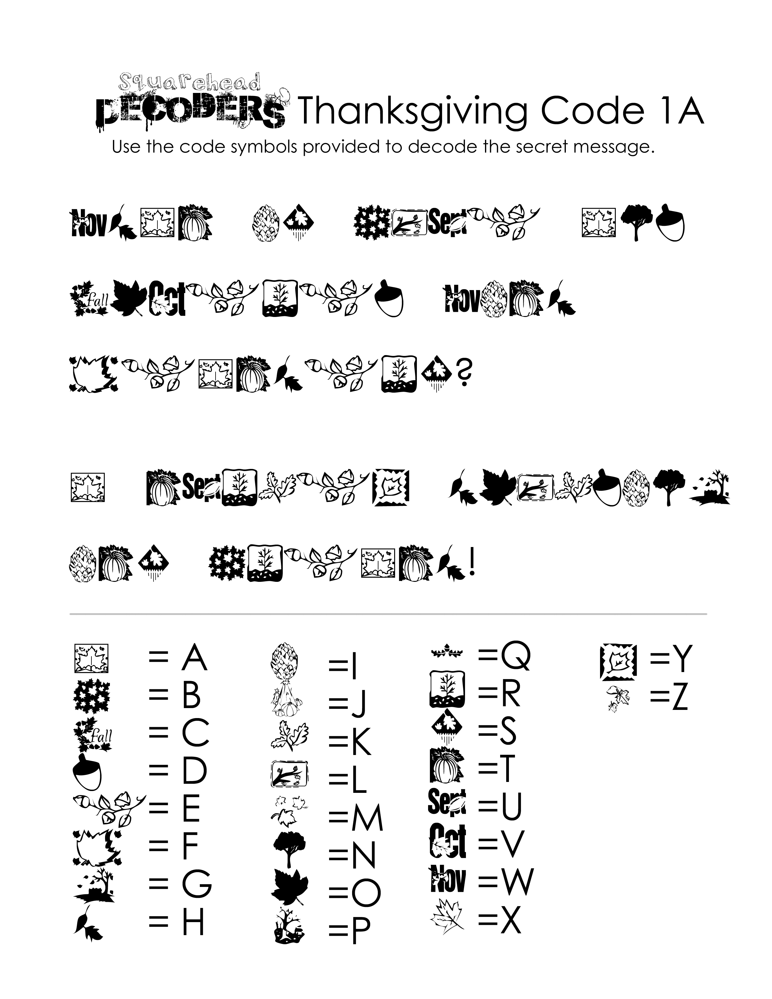 Thanksgiving Decoding Worksheets (Free!)   Squarehead Teachers - Free Printable Thanksgiving Math Worksheets For 3Rd Grade