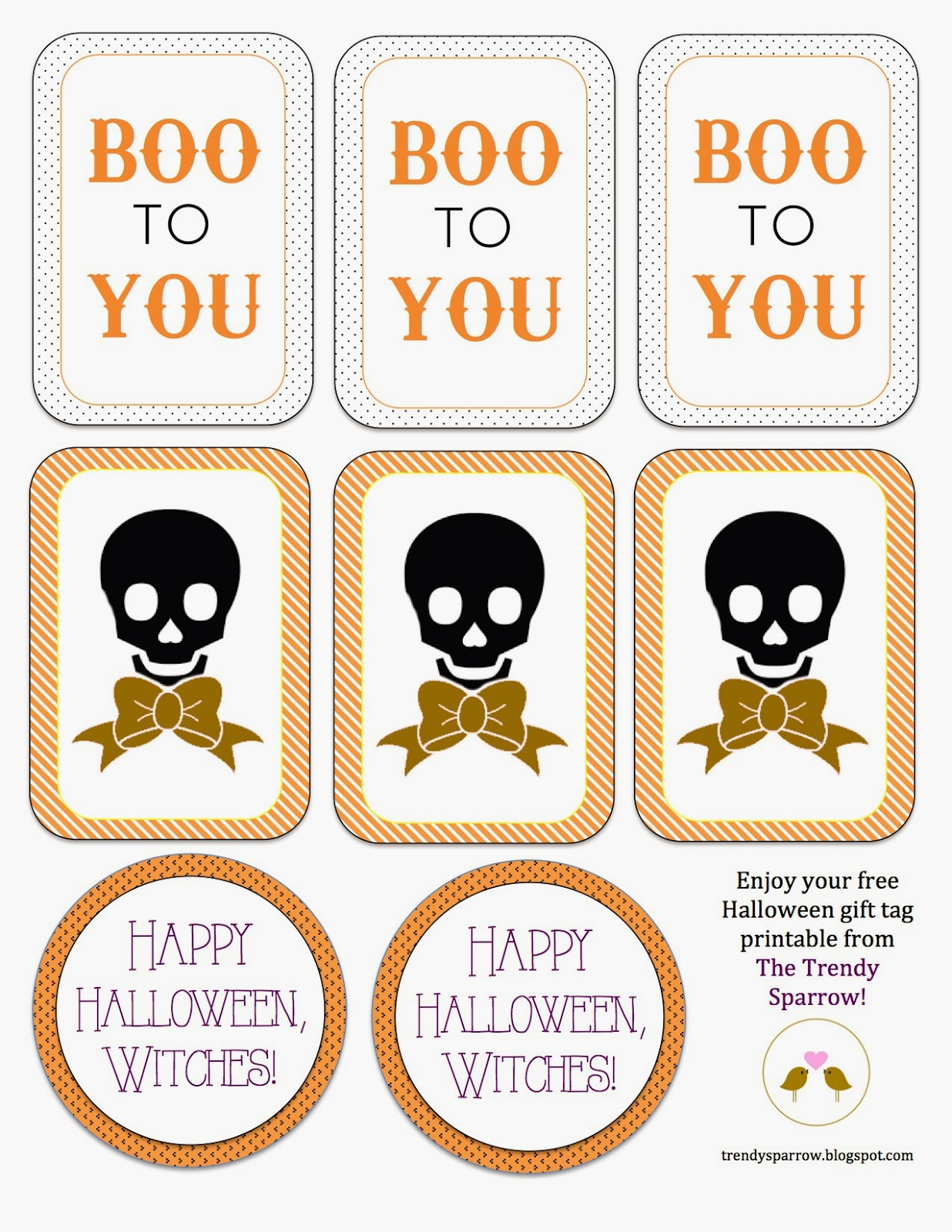 The Trendy Sparrow: Free Printable: Halloween Gift Tags - Free Printable Goodie Bag Tags