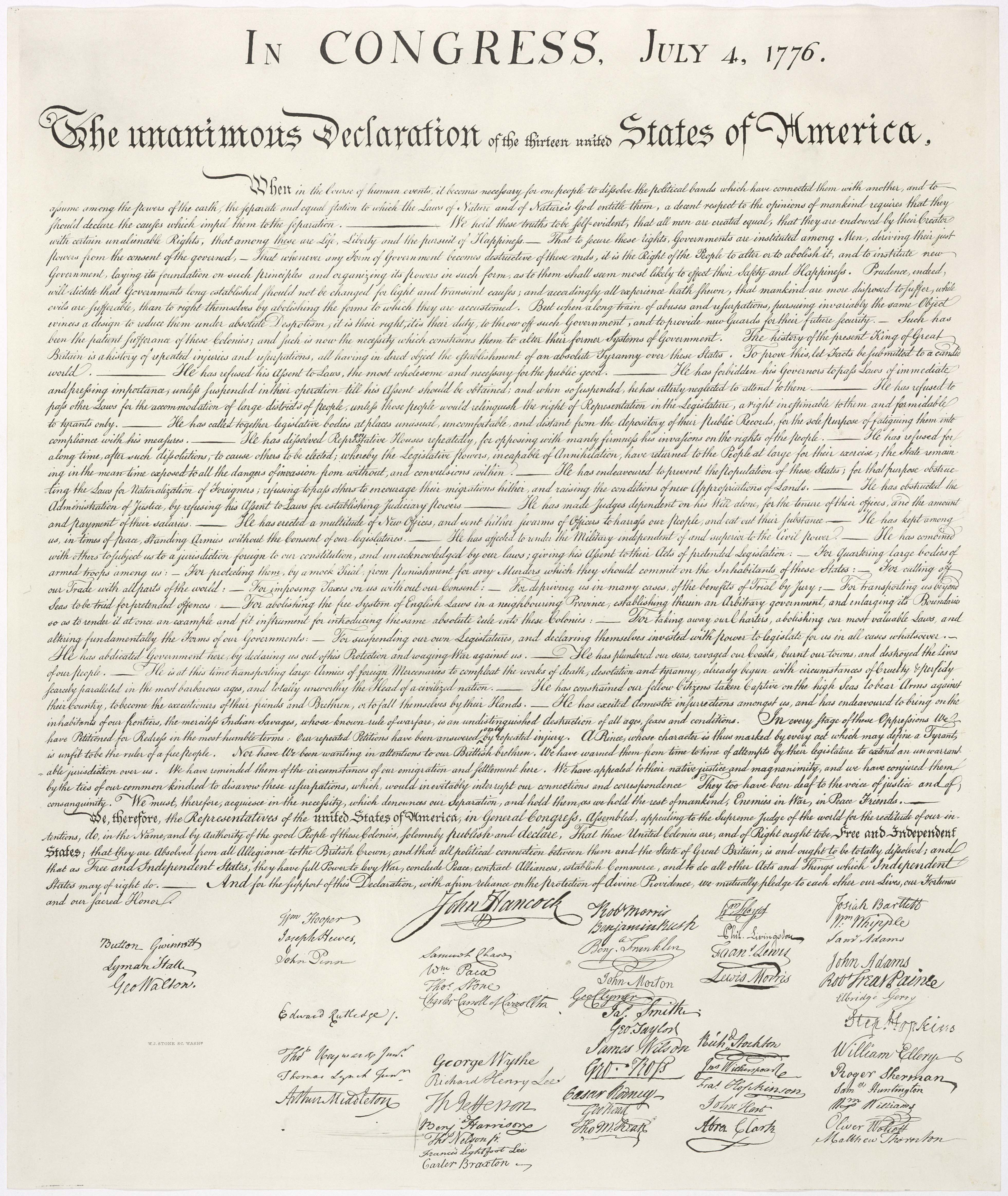 United States Declaration Of Independence - Wikipedia - Free Printable Copy Of The Declaration Of Independence