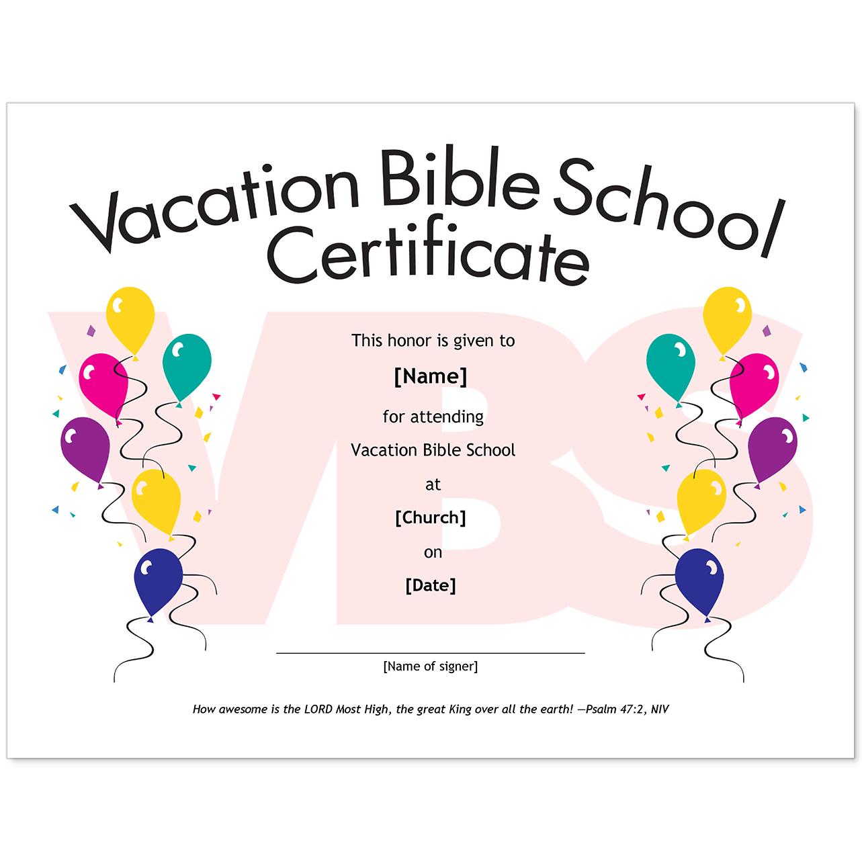 Vacation Bible School Certificate Templates - Condo-Financials - Free Printable Vacation Bible School Materials