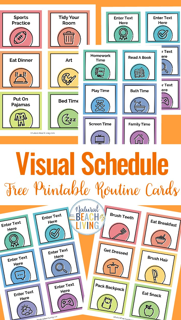 Visual Schedule - Free Printable Routine Cards - Natural Beach Living - Free Printable Images