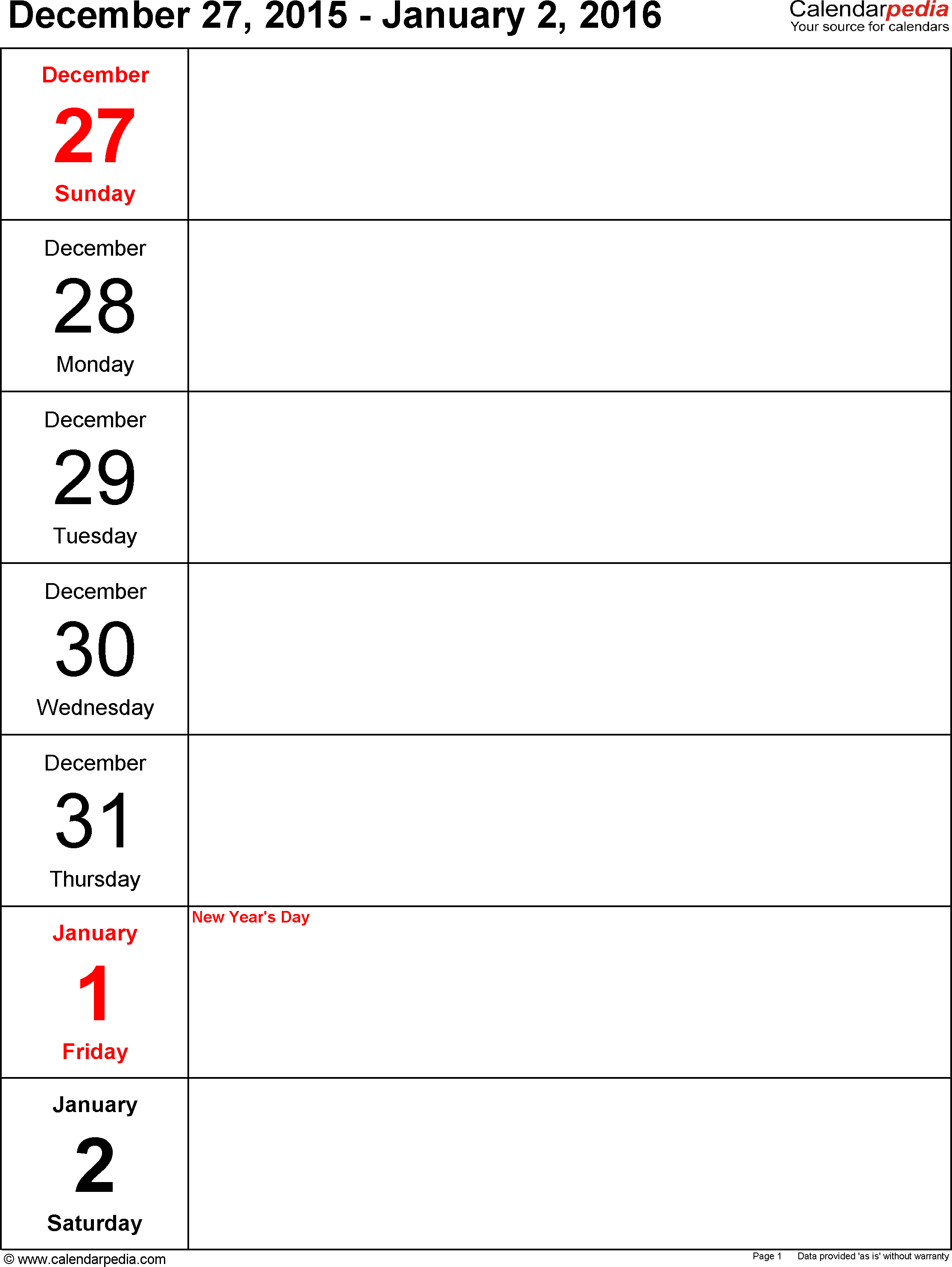 Weekly Calendar 2016 For Pdf - 12 Free Printable Templates - Free Printable Monthly Planner 2016
