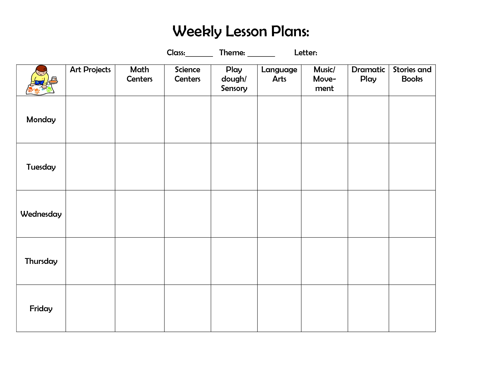 Weekly Preschool Planner Free Printable Lesson Plan Tem ~ Takemetoearth - Free Printable Lesson Plan Template Blank